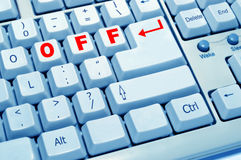 OFF of computer keyboard. TheOFF button experience of computer keyboard Royalty Free Stock Photography
