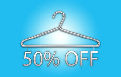 50% Off concept with banner and clothes hanger. Colorful Innovation concept with text banner and 3d rendered illustration of metal clothes hanger Stock Photo