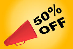 50% Off concept. 3D illustration of 50% OFF title flowing from a loudspeaker Royalty Free Stock Photography