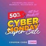 50% off cyber monday discount banner vector. Super sale online shop promotion background template. Eps 10 royalty free illustration