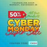 50% off cyber monday discount banner vector. Super sale online shop promotion background template. Eps 10 Royalty Free Stock Photo