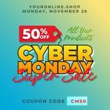 50% off cyber monday discount banner vector. Super sale online shop promotion background template. Eps 10 vector illustration