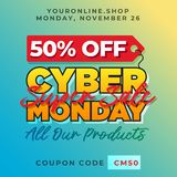 50% off cyber monday promotion background. Super sale online shop discount banner vector template. Eps 10 vector illustration