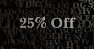 25% Off - 3D rendered metallic typeset headline illustration. Can be used for an online banner ad or a print postcard Stock Photo