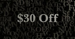 $30 Off - 3D rendered metallic typeset headline illustration Stock Images