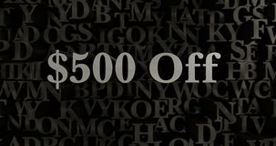$500 Off - 3D rendered metallic typeset headline illustration. Can be used for an online banner ad or a print postcard vector illustration