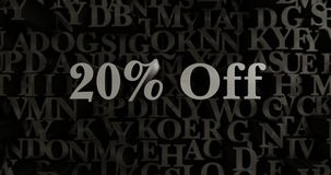 20% Off - 3D rendered metallic typeset headline illustration. Can be used for an online banner ad or a print postcard Royalty Free Stock Photo