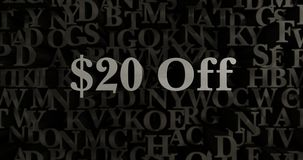 $20 Off - 3D rendered metallic typeset headline illustration. Can be used for an online banner ad or a print postcard Royalty Free Stock Photo