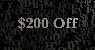 $200 Off - 3D rendered metallic typeset headline illustration. Can be used for an online banner ad or a print postcard Stock Photo