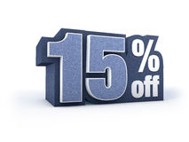 15% off denim styled discount price sign Royalty Free Stock Images