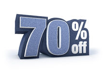 70% off denim styled discount price sign Royalty Free Stock Image