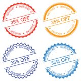 35% off discount badge isolated on white. 35% off discount badge isolated on white background. Flat style round label with text. Circular emblem vector Royalty Free Stock Photography