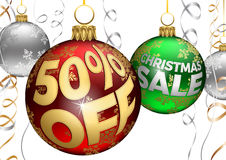 50% Off Discount Baubles and Ribbons Christmas Sale Balls. Superb illustration of Christmas sale sign offering a 50% Discount written on Christmas baubles over Stock Images
