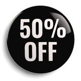 50% Off Discount Offer Black. 50% Off Discount Offer Round Black Sign Royalty Free Stock Photography