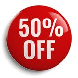 50% Off Discount Offer. Round Sign Royalty Free Stock Photo