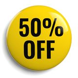50% Off Discount Offer Yellow. 50% Off Discount Offer Round Yellow Sign Stock Photos