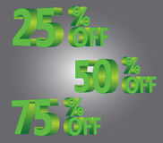 25% 50% 75% off discount sale green. Set of 25% 50% 75% off price sale discount vector illustration