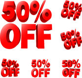 50% off Discount sale sign. 3D  illustration. AI8 compatible Stock Photography