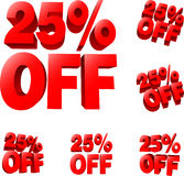 25% off Discount sale sign Royalty Free Stock Photos