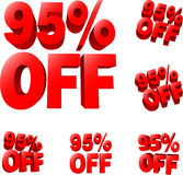 95% off Discount sale sign Stock Photography