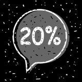 20% off discount. Sale tag. Vector illustration on black background stock illustration
