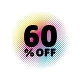60% OFF discount. Sale Vector Symbol. Abstract Vector Illustration. Rainbow Halftone Circle Made of Dots. White Background. Black Text Royalty Free Stock Photography