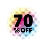 70% OFF discount. Sale Vector Symbol. Abstract Vector Illustration. Rainbow Halftone Circle Made of Dots. White Background. Black Text stock illustration