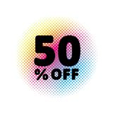 50% OFF discount. Sale Vector Symbol. Abstract Vector Illustration. Rainbow Halftone Circle Made of Dots. 50% OFF. Sale Vector Symbol. Abstract Vector vector illustration