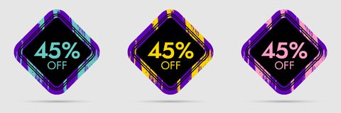 45 Off Discount Sticker. 45 Off Sale and Discount Price Banner. Vector Frame with Grunge and Price Discount Offer Royalty Free Stock Photo
