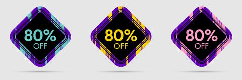 80 Off Discount Sticker. 80 Off Sale and Discount Price Banner Royalty Free Stock Images