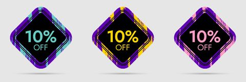 10 Off Discount Sticker. 10 Off Sale and Discount Price Banner. Vector Frame with Grunge and Price Discount Offer Stock Images
