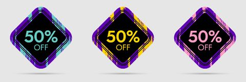 50 Off Discount Sticker. 50 Off Sale and Discount Price Banner. Vector Frame with Grunge and Price Discount Offer Stock Photography