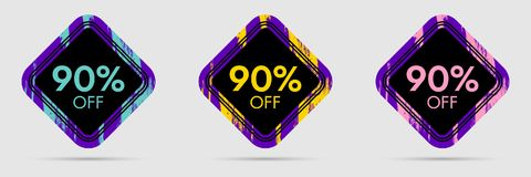 90 Off Discount Sticker. 90 Off Sale and Discount Price Banner. Vector Frame with Grunge and Price Discount Offer Royalty Free Stock Images
