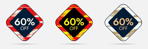 60 Off Discount Sticker. 60 Off Sale and Discount Price Banner Royalty Free Stock Images