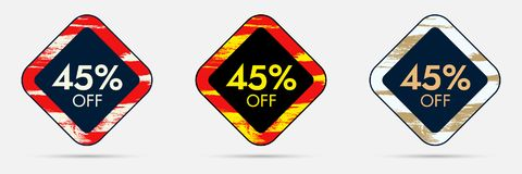45 Off Discount Sticker. 45 Off Sale and Discount Price Banner Stock Photo