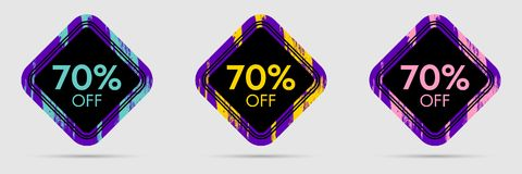 70 Off Discount Sticker. 70 Off Sale and Discount Price Banner. Vector Frame with Grunge and Price Discount Offer Stock Photo