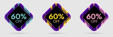 60 Off Discount Sticker. 60 Off Sale and Discount Price Banner. Vector Frame with Grunge and Price Discount Offer Royalty Free Stock Image