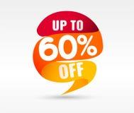 60 OFF Discount Sticker. Vector Illustration. 60 OFF Discount Sticker. Sale Red Tag Isolated Vector Illustration. Discount Offer Price Label, Vector Price stock illustration