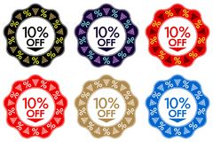 10 Off Discount Sticker. Set of Banner Design with 10 off Royalty Free Stock Photos