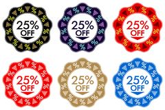 25 Off Discount Sticker. Set of Banner Design with 25 off stock illustration