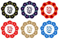 5 Off Discount Sticker. Set of Banner Design with 5 off vector illustration