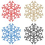 25 Off Discount Sticker. Snowflake 25 Off Sale. 25 Off Discount Sticker. Snowflake Banner or Sticker with 25 Off Sale in Red, Blue, Golden and Black color Stock Image