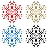 40 Off Discount Sticker. Snowflake 40 Off Sale Stock Photography