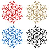 15 Off Discount Sticker. Snowflake 15 Off Sale. 15 Off Discount Sticker. Snowflake Banner or Sticker with 15 Off Sale in Red, Blue, Golden and Black color Stock Image