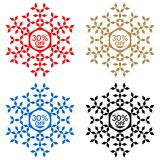 30 Off Discount Sticker. Snowflake 30 Off Sale. 30 Off Discount Sticker. Snowflake Banner or Sticker with 30 Off Sale in Red, Blue, Golden and Black color Royalty Free Stock Image