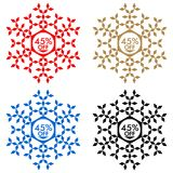 45 Off Discount Sticker. Snowflake 45 Off Sale Royalty Free Stock Image