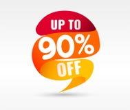 90 OFF Discount Sticker. Vector Illustration. 90 OFF Discount Sticker. Sale Red Tag Isolated Vector Illustration. Discount Offer Price Label, Vector Price vector illustration