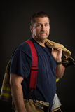 Off Duty Firefighter Standing Portrait Stock Photos