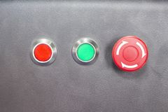 On ,Off, and emergency stop button. Selective focus Royalty Free Stock Images