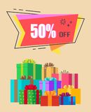 50 off Exclusive Discount Vector Illustration. 50 off exclusive discount surrounded by thin frame decorated with many gift boxes wrapped in bright paper. Vector stock illustration